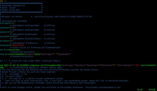 Beispiel Quellcode im Vim