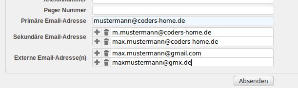 """Einstellung für """"externe Mailadressen"""" im Kolab-Webadmin-Panel"""